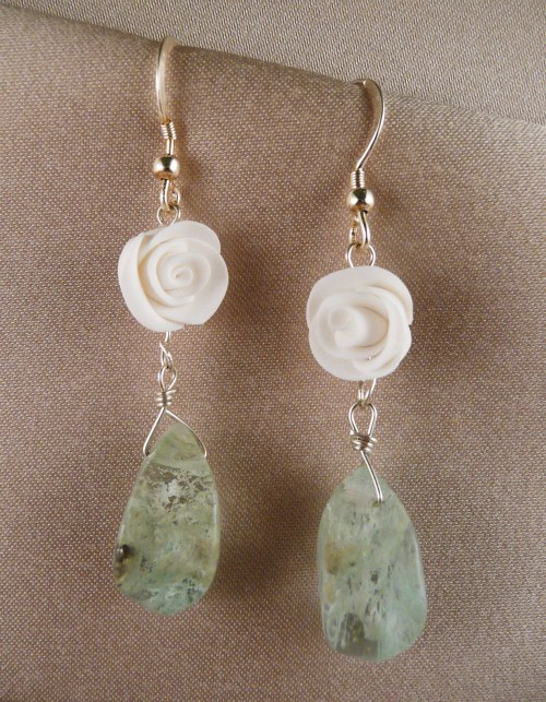 Aquamarine drops, white roses, sterling earwires