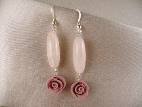 Rose quartz ovals, lavender roses