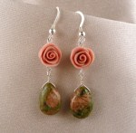 Coral-colored rose matches unakite teardrop